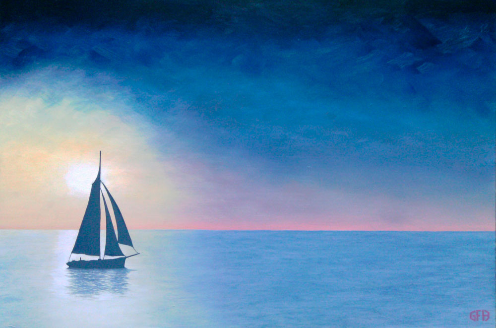 Sails in the Sunset Painting